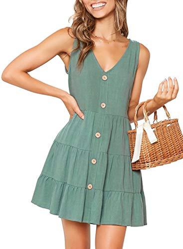 MITILLY Women's Summer Sleeveless V Neck Button Down Casual Pocket Swing Short Dress