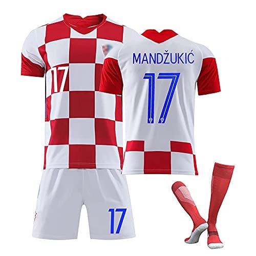 HKIASQ Uniforme De Fútbol, Camiseta De Fútbol De Croacia, Camiseta De Local/Visitante 2020/21, 10 Modric 17 Mandzukic 7 Rakitić, Camiseta, Pantalones Cortos, Calcetines,A,18