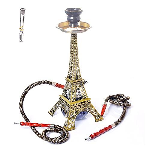 Paris Tower Metal Hookah Set, Doble Manguera De Cuero Shisha con Tazón De Cerámica Pinzas De Carbón