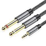 POSUGEAR Cable Audio 3.5mm a Doble 6.35mm Mono Audio Jack con Conectores Dorados Nylon Trenzado para iPhone, iPad, Ordenador portátil, Dispositivos de Cine en casa, amplificadores - 2M