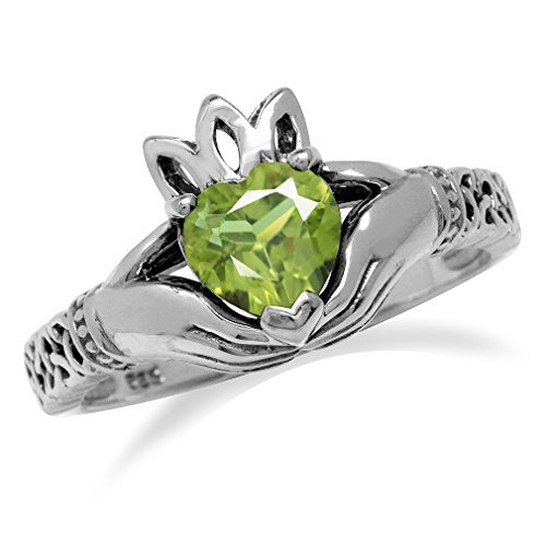 Silvershake Natural Heart Shape Peridot 925 Sterling Silver Irish Claddagh and Triquetra Celtic Knot Ring Size 11