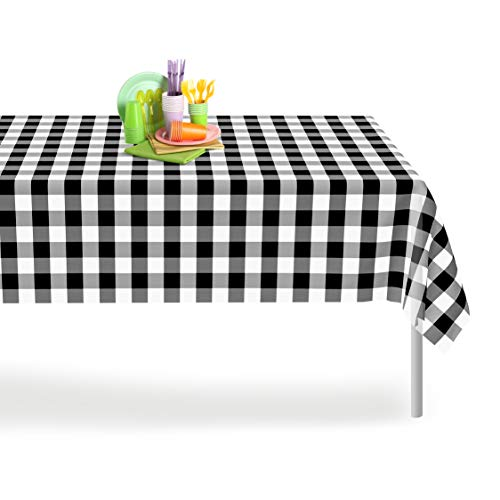 Black Checkered Gingham 6 Pack Premium Disposable Plastic Tablecloth 54 Inch. x 108 Inch. Rectangle Checkered Racing  Flag Table Cover By Grandipity