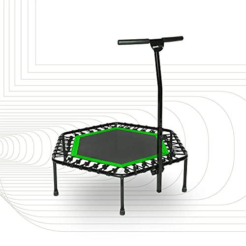 SportPlus Trampolín Fitness con Mango Regulable – Cama Elástica para Adultos – Ideal para Ejercicios en Casa - Carga Máxima de 130 Kg - Diámetro 110 cm