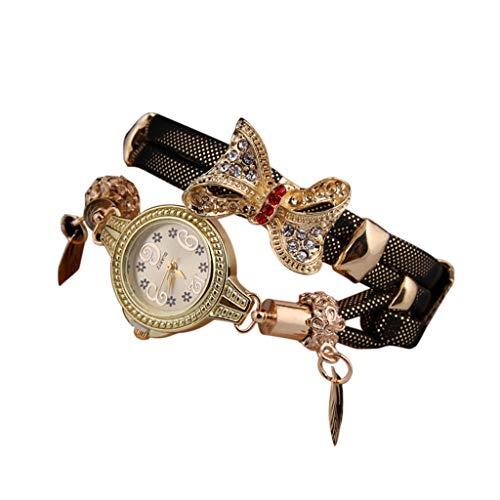 jgashf Damen Uhr, Uhren Mode Strass Armband Elegant Bow Retro Strass Armband Uhren Frauen Schöne Hochzeit Quarzuhren Kristall Armband(Braun)