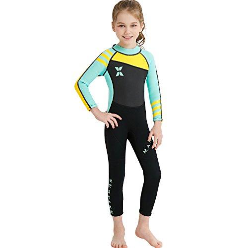 GWELL Mädchen Kinder Neoprenanzug 2.5MM Neopren Langarm Wärmehaltung Tauchanzug Badeanzug Wetsuit für Wassersport Schwarz-Grün M