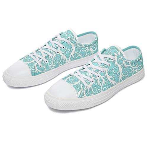 RNGIAN Herren Mandala-Schuhe aus Segeltuch, niedriges Oberteil, stylisch, für Fitnessstudio, Tennisschuhe für Frauen, Weiß - weiß - Größe: 44 EU