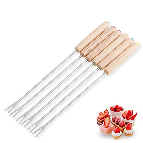 Biyi Acero Inoxidable Tenedor Chocolate Caliente Pot Forks Queso Fruta de Postre Tenedor Fondue de fusión Herramientas del pincho de Cocina (Plata) ()