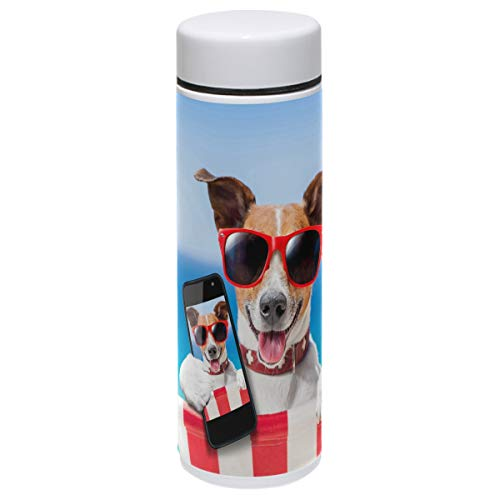 Dog Thermos Vacuum Insulated Bottle,Funny Dog Animals Selfie Summer Holidays 304 Stainless Steel Water Bottle for Kids Adult,BPA Free Coffee Travel Mug Cup Mini 7.5 Oz Best Birthday Christmas Gifts