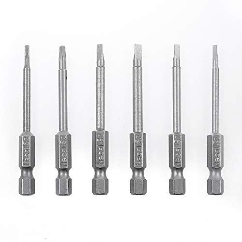 Rocaris 6 Pack 1/4 Inch Hex Shank Triangle Head Bit, S2 Steel Screwdriver Drill Set Bits TA14, TA18, TA20, TA23, TA27, TA30-65mm