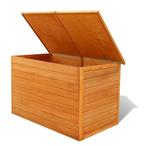 Hartholz Auflagenbox Kissenbox Gartenbox | 116 x 72 x 72 cm Braun | Poly Rattan | Wasserdicht | Holz Auflagenbox für Garten Terrasse auch als Tischplatte geeignet, Natur