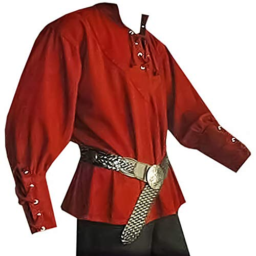 Herren Mittelalter Pirat Renaissance Hemd Schnürung Wikinger Kostüm Söldner Schottische T-Shirts Jacobite Ghillie Tops - - Medium