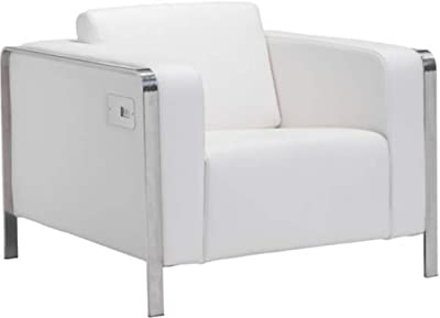 Amazon.com: Modern Contemporary Accent Chair, White, Leather ...