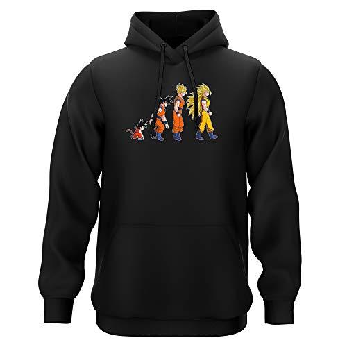 Okiwoki Sweat-Shirt à Capuche Noir Parodie Dragon Ball Z - DBZ - Sangoku Super Saiyajin - La Théorie de l'évolution : (Sweatshirt de qualité Premium de Taille M - imprimé en France)