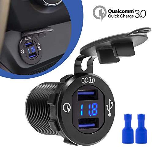 12V QC 3.0 Dual USB auto sigarettenaansteker stopcontact inbouw oplader adapter