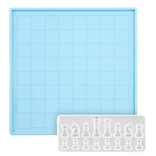 2 moldes de silicona para tablero de ajedrez de resina de silicona para fundición de ajedrez internacional molde de resina flexible de ajedrez de 16 cavidades para manualidades decoración del hogar