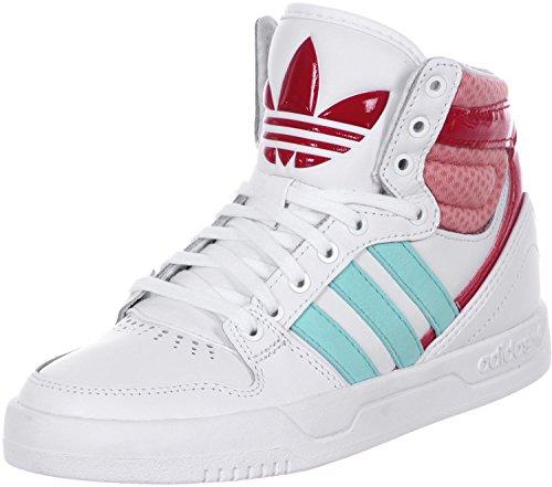 adidas Unisex-Kinder Court Attitude K Hightop Sneaker, Weiß/Blau/Rosa, 38 2/3 EU