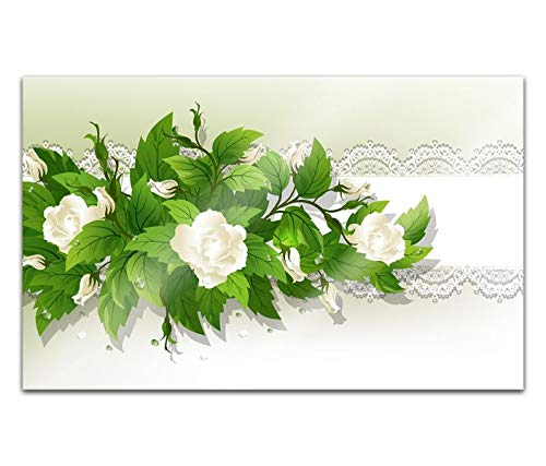 Acrylglasbilder 80x50cm Blumen weiße Rosen Lichter Muster abstrakt Blume Acryl Bilder Acrylbild Acrylglas Wand Bild 14H1312