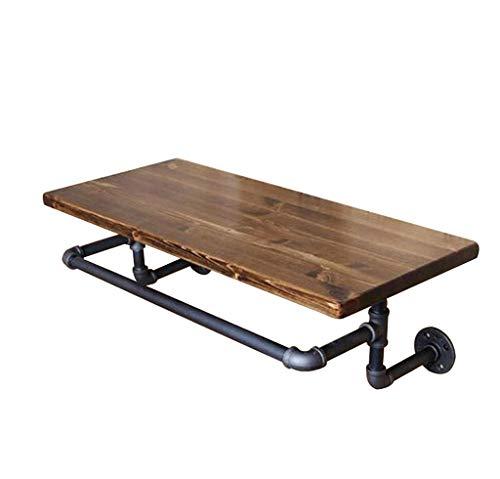 JPZWJZ plank, vintage massief hout composiet frame smeedijzeren pijp rack muur mount 40 * 20 * 2cm Lager sterk