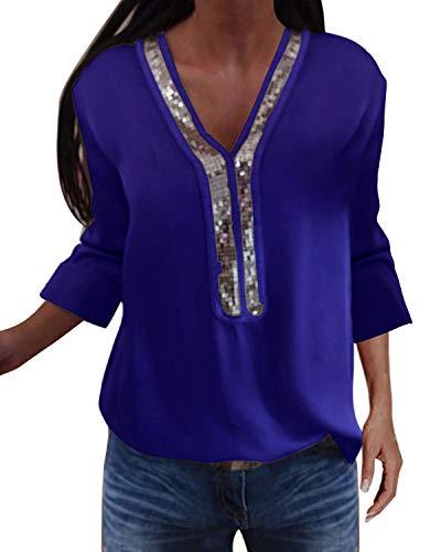 YOINS Sexy Schulterfrei Oberteil Damen Langarmshirt Elegant Glitzer Oberteile für Damen Pulli Bluse Bling Rundhals Aktualisierung-Z-blau XL