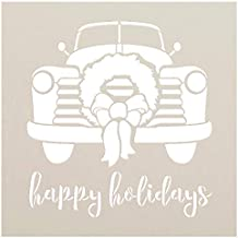 Happy Holidays Stencil by StudioR12 | Truck Cursive Script Wreath Bow | Reusable Mylar Template | Paint Wood Sign | Craft Rustic Christmas Home Decor Welcome | DIY Seasonal Winter Gift | Select Size