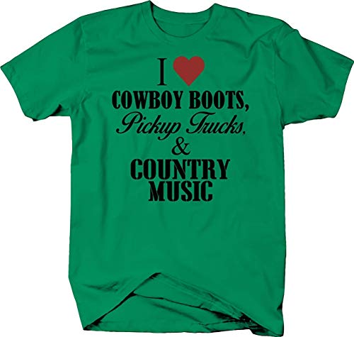 SWT-T I Love Cowboy Boots Pickup Trucks and Country Music American Camiseta