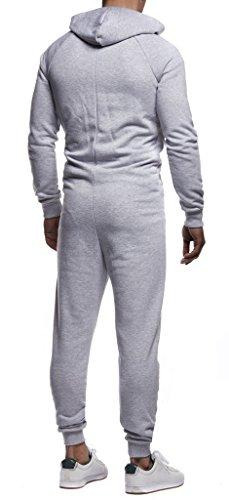 Leif Nelson Herren Jumpsuit in grau-schwarz - 4