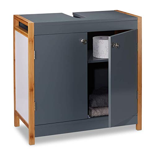 Relaxdays Waschbeckenunterschrank mit Bambusrahmen, verstellbarer Einlegeboden, Aussparung, HxBxT: 60 x 60 x 29 cm, grau