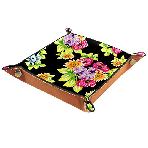 KAIXINJIUHAO Caja de almacenamiento de cuero de microfibra plana con flores verdes y negras de escritorio de papelería de papelería de artículos de papelería caja de gadget, 20,5 x 20,5 cm