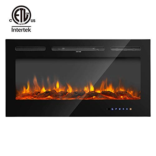 "RUUF Electric Fireplace, 40"" in-Wall Recessed and Wall Mounted Fireplace Heater, 5 Flame Settings with 9 Colors, Touch Screen and Remote Control, Logset and Crystal Hearth, ETL Safety Certificated"
