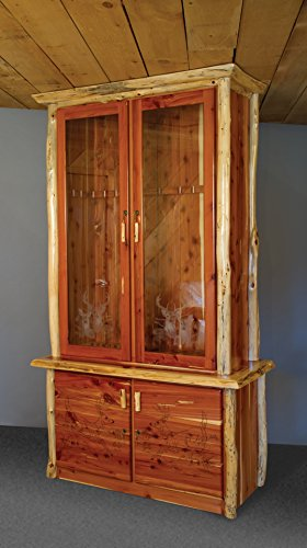 Red Cedar Log 12-Gun Cabinet - Amish Made in The USA