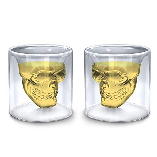 Sharemee - Juego de 2 tazas de cristal de whisky con diseño de calavera de cristal grabado personalizable, 100 ml