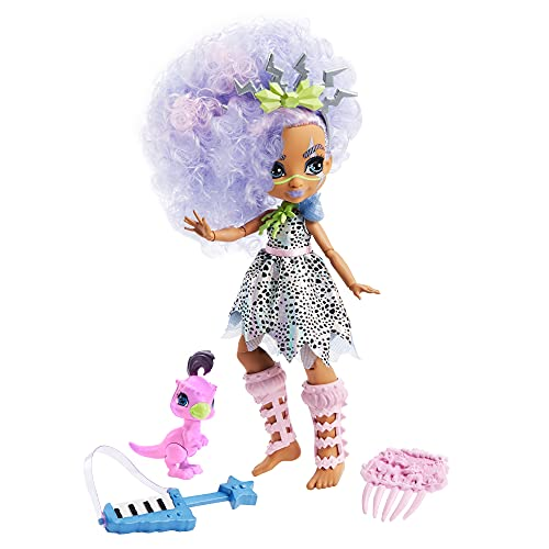 Cave Club Bashley Muñeca con accesorios de juguete y de moda, incluye mascota (Mattel GTH04)