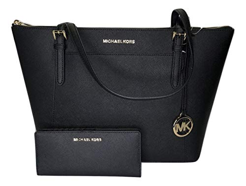 Bundle of 2 items: MICHAEL Michael Kors Ciara Large East West TZ Tote bundled with Michael Kors Jet Set Travel Slim Bifold Wallet Top zip closure, Front slide pocket with magnetic closure, Rear slip pocket, Dual leather straps with approx. 9'' drop I...
