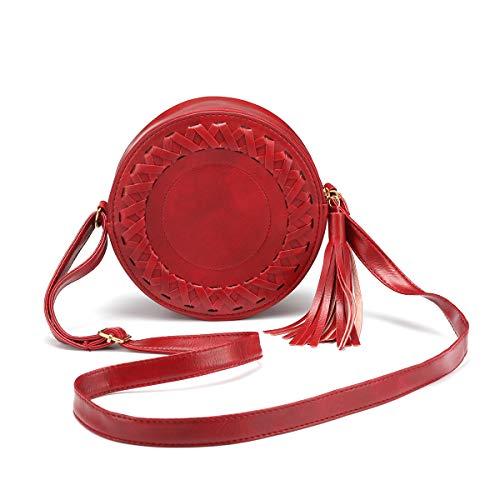 JOSEKO Frauen Crossbody Tasche, Umhängetasche Damen PU Leder Mode Bauchtasche Runde Schultertasche Klein Hüfttasche Reißverschluss Handytasche Geldbörse mit Quaste für Reise Outdoor Arbeit (Rot)