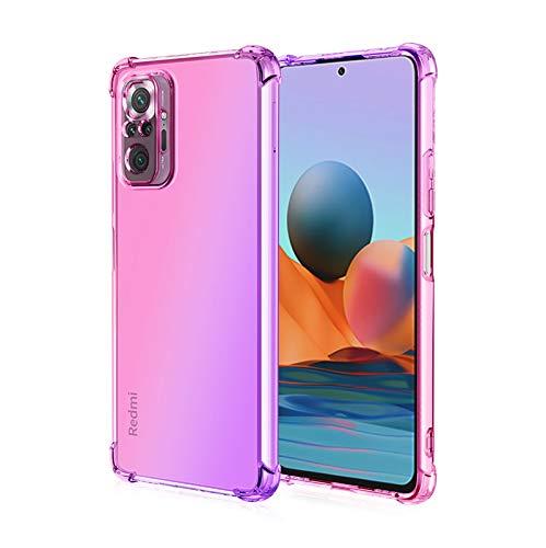 KERUN Funda para Xiaomi Redmi Note 10 Pro, Flexible TPU Protectora de Golpes Transparente Silicona Carcasa, Esquinas Reforzadas Ultra-Delgado Anti-Choque Funda Case (Pink/Morado)