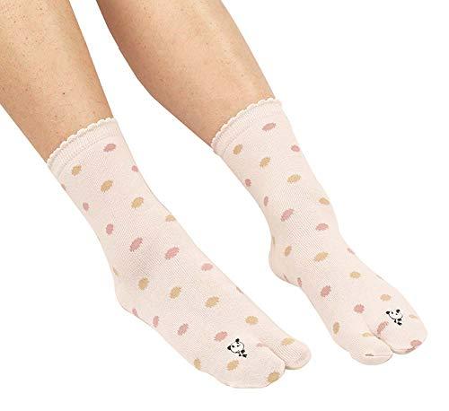 Calcetines casuales de estilo japonés para mujer chanclas calcetines de algodón con punta grande 3 pares, Panda (ROSADO)