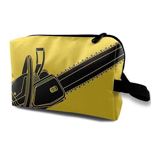 Bolsa de viaje para maquillaje – Bolsa de aseo portátil Bolsa de almacenamiento de cosméticos pequeña para mujeres y hombres – Cadena amarilla para motosierra