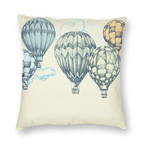 Ethaico - Funda de almohada retro con diseño de globo de aire caliente suave volando en el cielo, impresión de viaje de gran altitud, decorativa cuadrada acento funda de almohada, 18 x 18, color verde