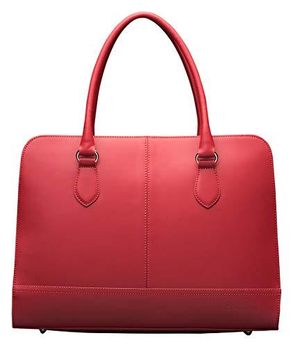 Su.B Su.B 13,3 Pollici Borsa per Laptop con La Cinghia Trolley per Donne - Cartella in pelle - borsa a tracolla - Borsa del Messaggero - Vino Rosso