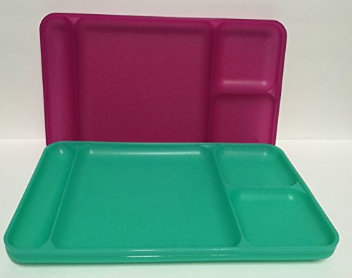 Tupperware Divided Dining TV Trays Picnic Kids Lunch Plates Set of 4 Pink Green