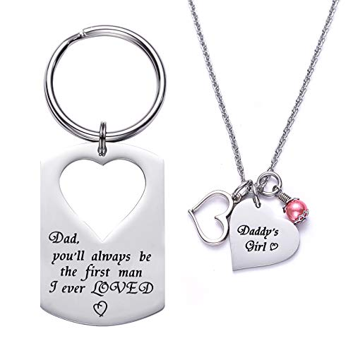 LParkin Dad You'll Always be The First Man I Ever Loved Daddy's Girl Father Daughter Keychain Necklace Set