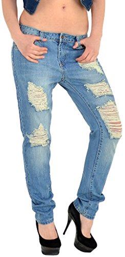 ESRA Damen Jeans Hose Boyfriedhose Destroyed Jeanshose mit Risse Baggyjeans Z05