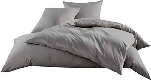 Mako-Satin Baumwollsatin Bettwäsche Uni einfarbig zum Kombinieren (Bettbezug 140 cm x 200 cm, Dunkelgrau) viele Farben & Größen
