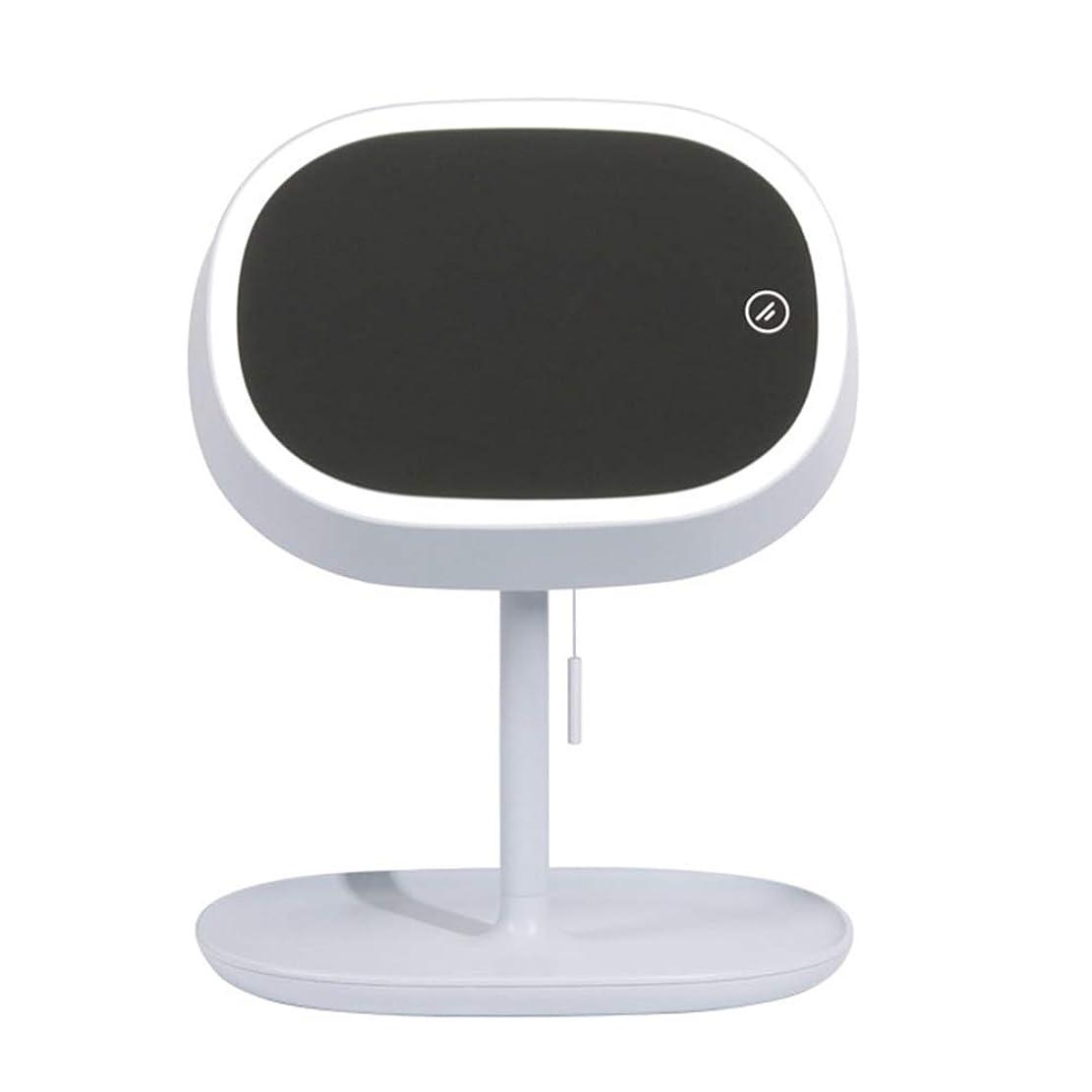 旅行慢な気づくなるGEABQJ LED化粧鏡 3種類のライト デスクトップ 多機能 ドローストリング フィル顕微鏡、 3色、 240×191×282mm (Color : Blue)