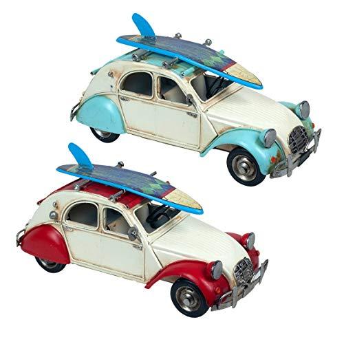 Set de 2 Figuras Decorativas de Metal Coche Escarabajo Tabla Surf . Adornos y Esculturas. Vehículos Retro Coleccionables. Decoración Hogar. Regalos Originales. 27 x 10,50 x 14 cm