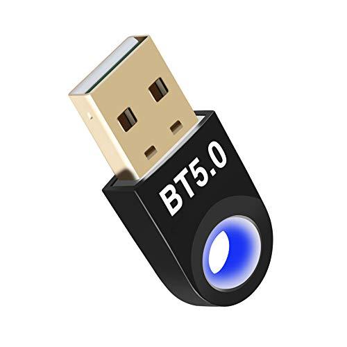 JeoPoom Adaptador de Bluetooth 5.0, USB Dongle Bluetooth Transmisor y Receptor para Portátil, Auriculares, Altavoces, Compatible con Windows 10/8.1/8/7(Negro)