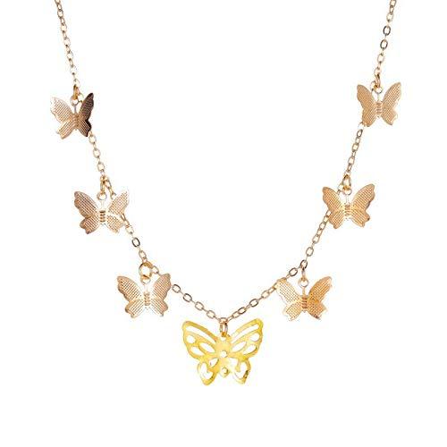 Collares Colgante Joyas Gargantilla De Mariposa Bohemia Bonita para Mujer, Cadena De Clavícula De Color Dorado Y Plateado, Gargantilla Femenina De Moda, Joyería