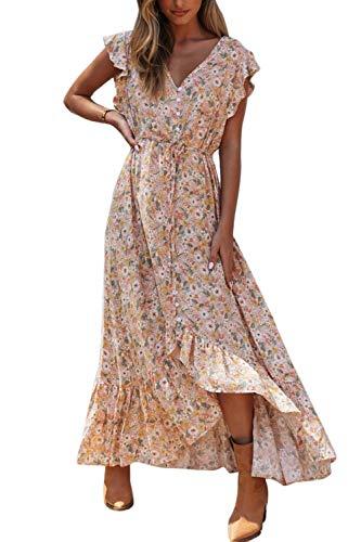 Vestido Mujer Bohemio Largo Verano Playa Fiesta Floral/Polka Dot Cuello en V Maxi Vestidos Cóctel Falda Larga Floral XL