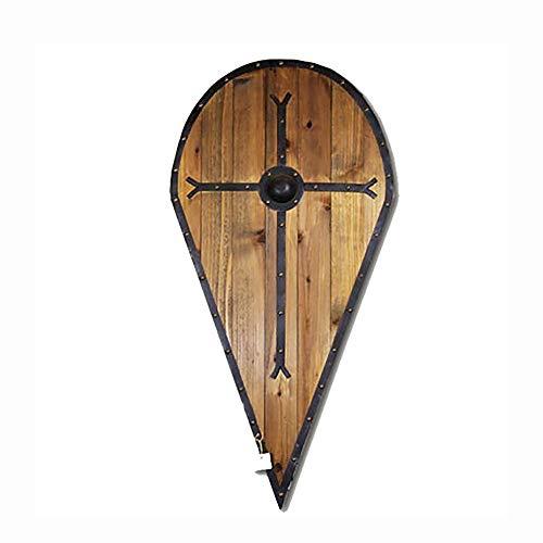 KCCCC Escudo Medieval 43x88cm Madera Placa Medieval del Cruzado Escudo Escudo Cruz Escultura de la Pared de la decoracin para Nios Disfraz de Caballero (Color : Wood, Tamao : 43x88cm)