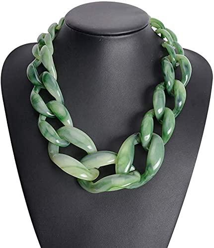 Collar De Moda para Mujer, Collar Acrílico Chunky Gargantilla Declaración De Cadena De Babero Colgantes De Resina Vintage De Plástico De Plástico Colgantes Collar Regalos,Verde